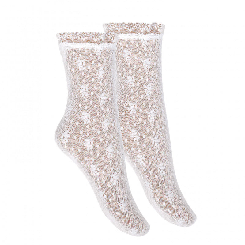 Silk Lace Ceremony Ankle Socks- Ecru