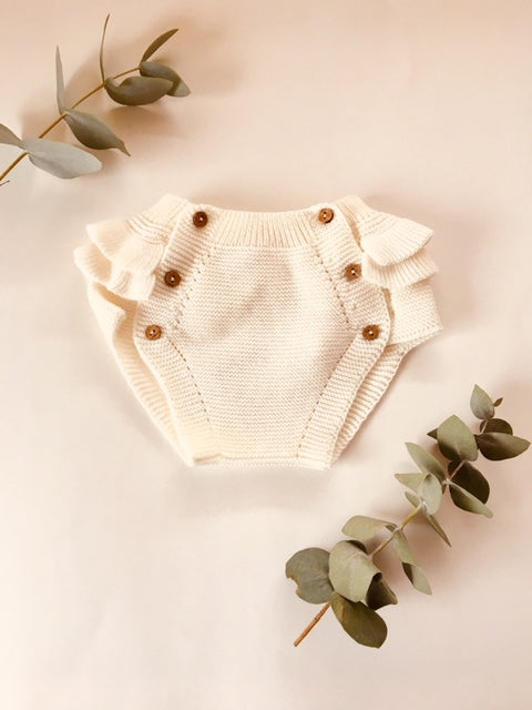 Frill knitted Cotton Bloomers- ECRU