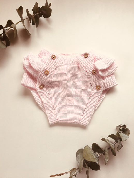 Adorable baby frill bloomers, knitted in Blush Pink with 100% of the softest cotton.