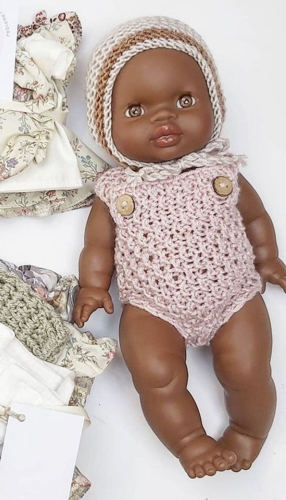 Doll Knitted ROMPER CREAM - LARGE ( Fits 34 - 40 cm dolls / 13-15 inch)