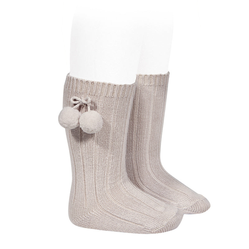 Warm cotton Rib Knee-High Socks with Pom-poms- Stone