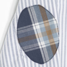 White with blue stripes shirt with elbow patches