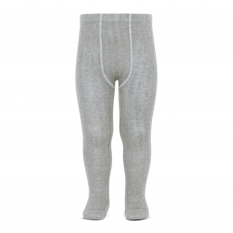 A must have classic pair of Condor tights in Grey / Aluminium colour.  Details: ribbed knit. Elastic waistband with top stitched seams on the crotch. Super flat seams on heels and toes. Excellent quality!