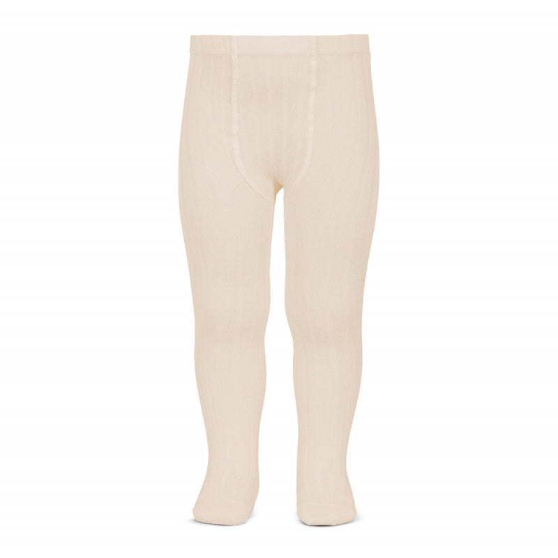 A must have classic pair of Condor tights in a delicate linen colour.  Details: ribbed knit. Elastic waistband with top stitched seams on the crotch. Super flat seams on heels and toes.