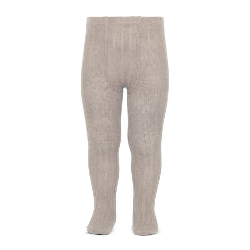 A must have classic pair of Condor tights in stone colour.  Details: ribbed knit. Elastic waistband with top stitched seams on the crotch. Super flat seams on heels and toes.
