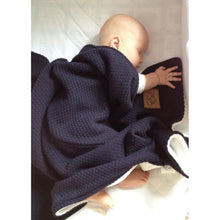 Double Sided Wool Blanket, 75x110, Navy and White