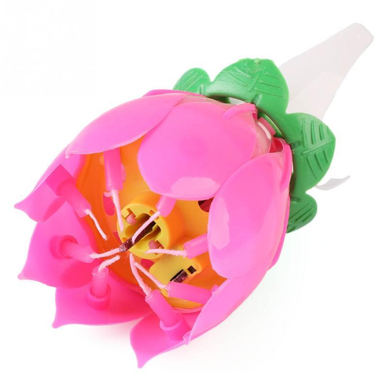 CraftsCapitol™ Premium Baking Pink Magic Musical Flower Candle