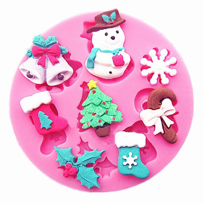 CraftsCapitol™ Premium Baking 3D Silicone Stencils Christmas Pattern