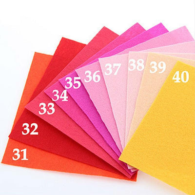 CraftsCapitol™ Premium Polyester Felt Fabric Pack 40 Colors [15CM*15CM]