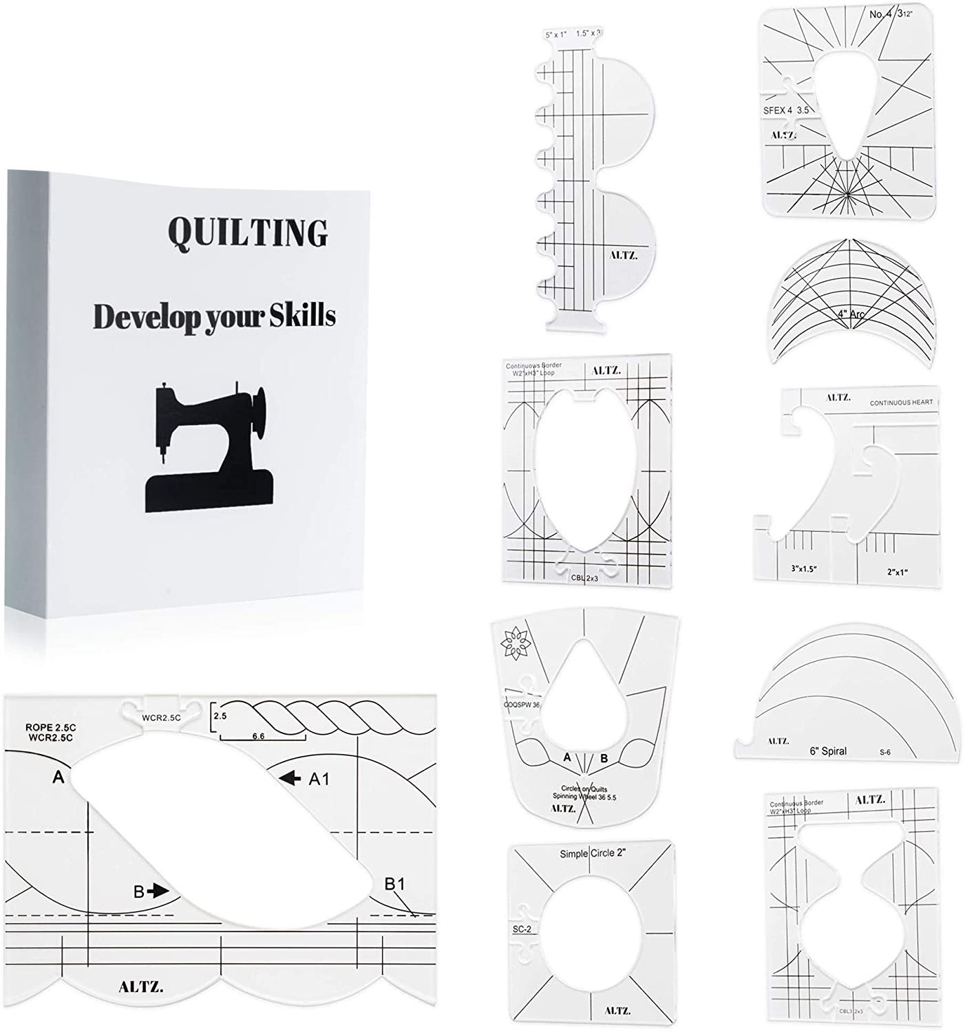 CraftsCapitol™ Premium Assorted Quilting Templates Combo (Set of 10PCS)
