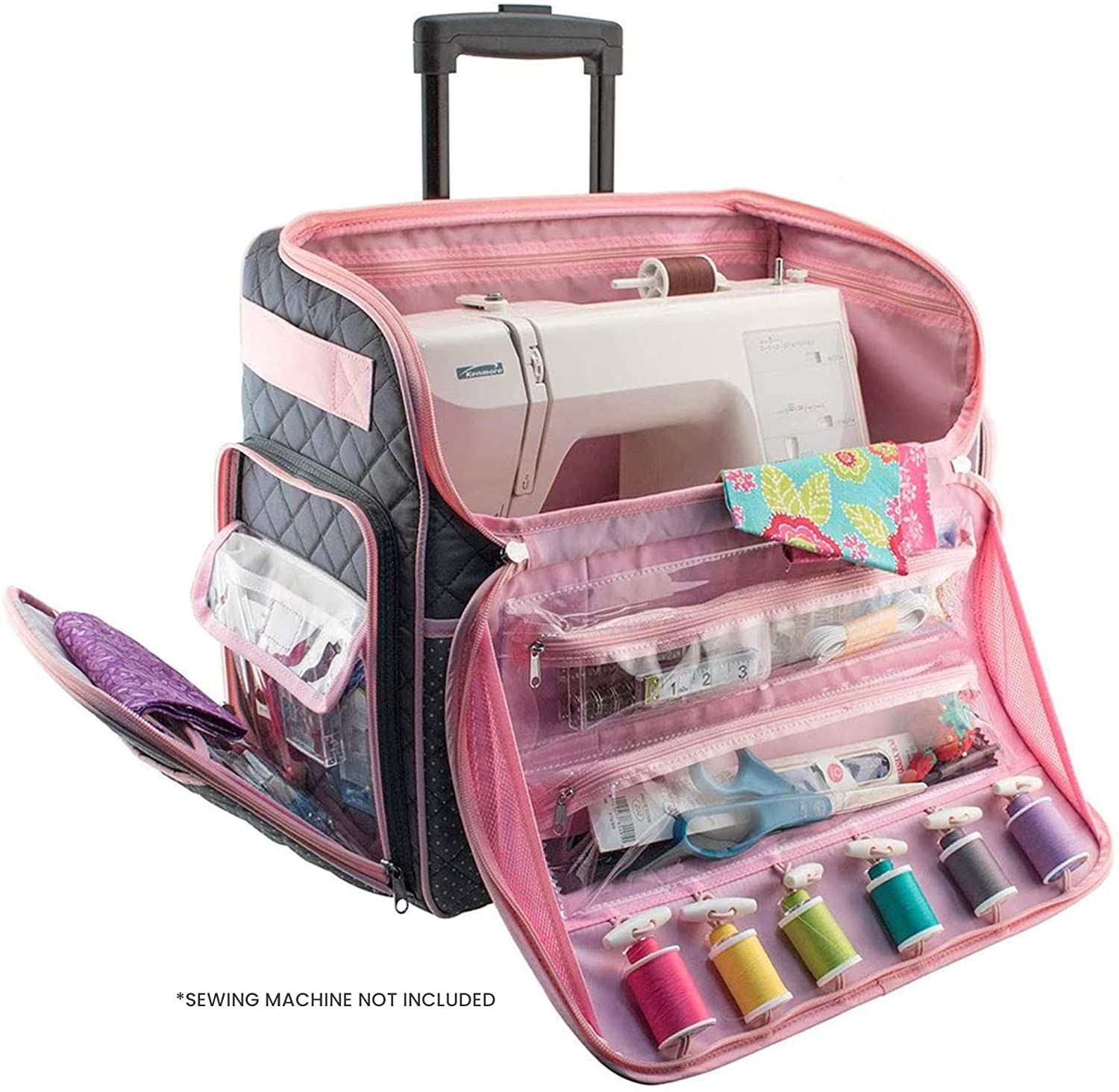 CraftsCapitol™ Premium Sewing Machine Wheel Carrying Case