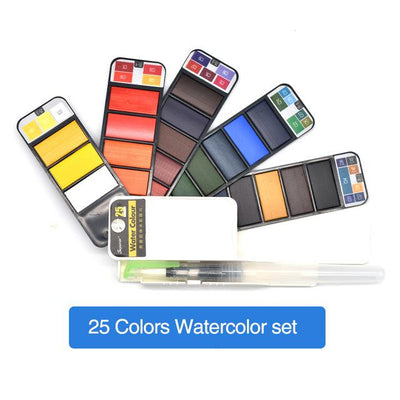 CraftsCapitol™ Premium Portable Pigment Watercolor Sets [18-25-33-42 Colors]