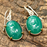 Green onyx cabochon earrings in silver bezel setting with polished brass accent prongs - Metal Studio Jewelry