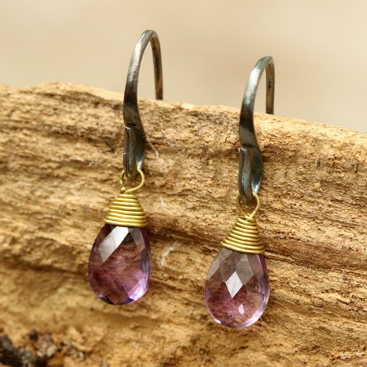Amethyst drops faceted earrings with oxidized sterling silver hooks(FBA)
