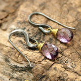 Amethyst drop earring, boho earrings, boho jewellery, gemstone dangle earring, crystal earring, birthstone jewellery - Metal Studio Jewelry
