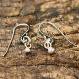 Silver bead earrings with oxidized sterling silver hooks - Metal Studio Jewelry