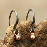 Rose gold bead earrings with oxidized sterling silver hooks(FBA)
