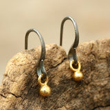 Gold plated 3 microns earrings with oxidized sterling silver hooks