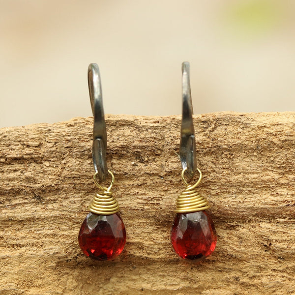 Garnet faceted drops earrings with oxidized sterling silver hooks - Metal Studio Jewelry