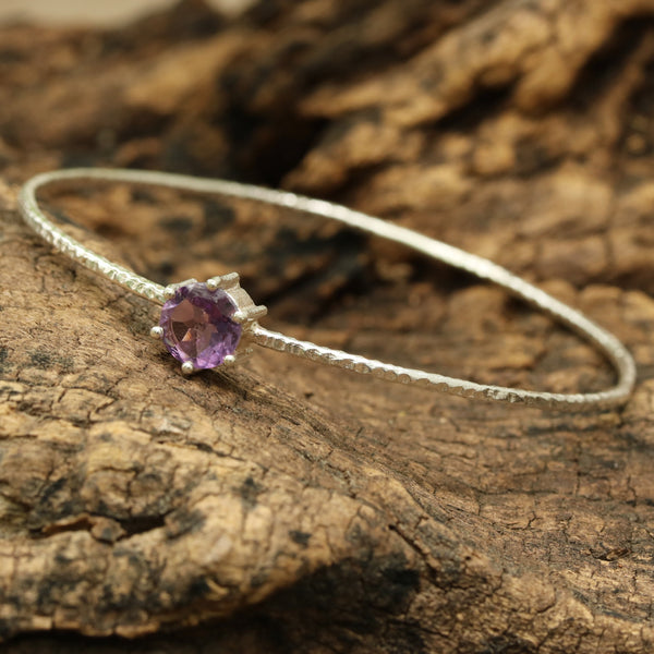 Amethyst round faceted bangle bracelet with textured sterling silver