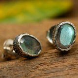 Oval faceted labradorite earrings in silver bezel setting with sterling silver post and backing