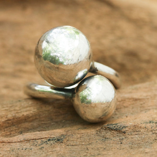 Sterling Silver high polished finished 2 ball design with twist band - Metal Studio Jewelry