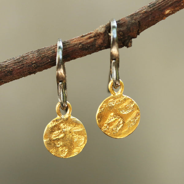 Gold plated brass discs 8.5 mm earrings with texture and hangs on sterling silver oxidized hook - Metal Studio Jewelry