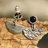 Black onyx earrings in silver bezel setting decorated with sterling silver fan shape with texture oxidized technique and silver post-backing - Metal Studio Jewelry