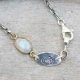 Bracelet oval cabochon moonstone in brass bezel setting and oxidized sterling silver chain - Metal Studio Jewelry