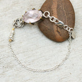 Oval faceted rose quartz bracelet in silver bezel and brass prongs setting and sterling silver chain - Metal Studio Jewelry