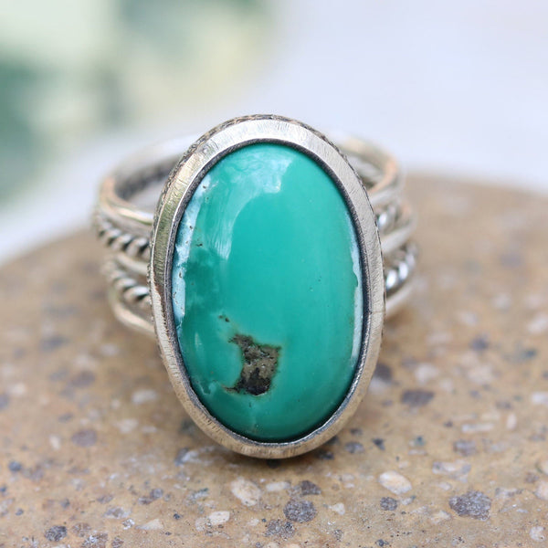 Sterling silver stack design ring with oval cabochon green turquoise in silver bezel setting - Metal Studio Jewelry