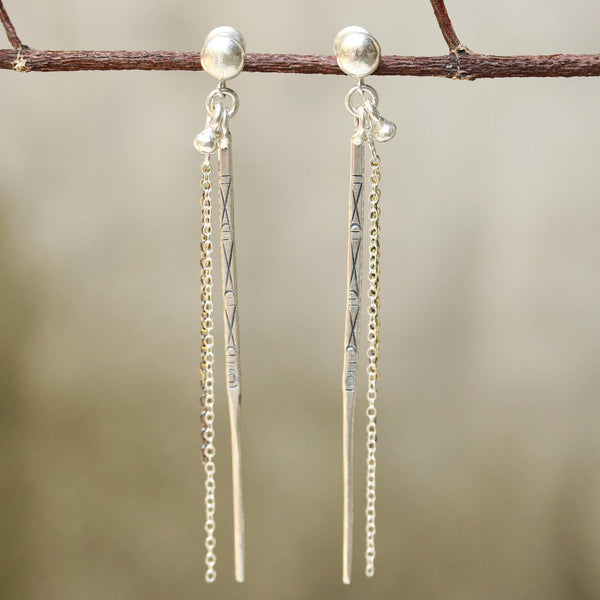 Sterling silver post earrings with silver spike oxidized engraving and silver chain set