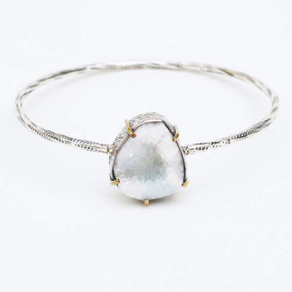 Druzy zippered texture bangle with silver bezel set gemstone and brass accent prongs