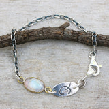 Bracelet oval cabochon moonstone in brass bezel setting and oxidized sterling silver chain (FBA)
