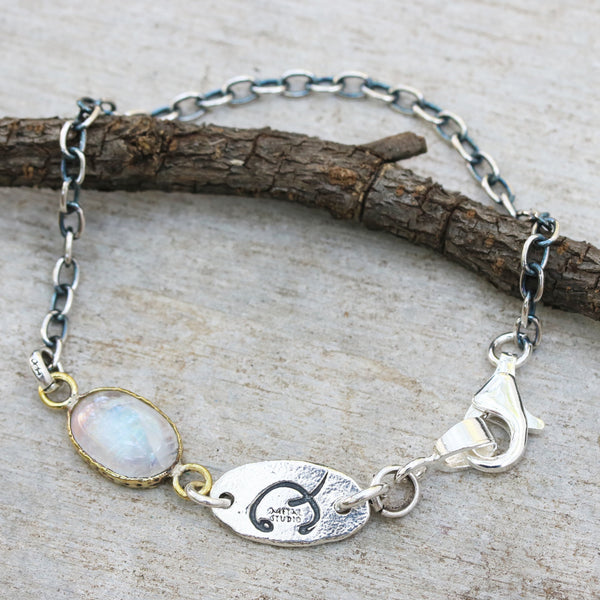 Bracelet oval cabochon moonstone in brass bezel setting and oxidized sterling silver chain