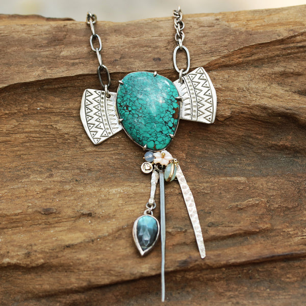 Stunning unique turquoise gemstone necklace in sterling silver bezel and prong setting - Metal Studio Jewelry