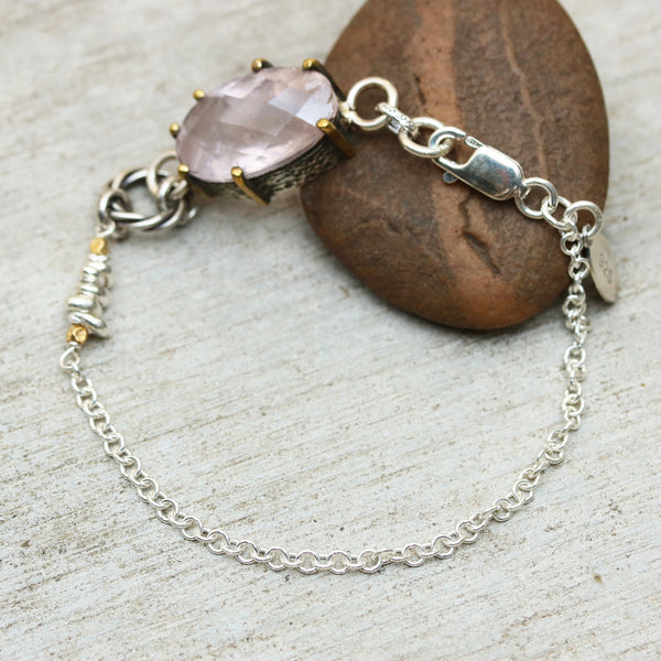 Oval faceted rose quartz bracelet in silver bezel and brass prongs setting and sterling silver chain/TP