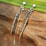 Silver post earrings with silver spike engraving and silver chain set - Metal Studio Jewelry