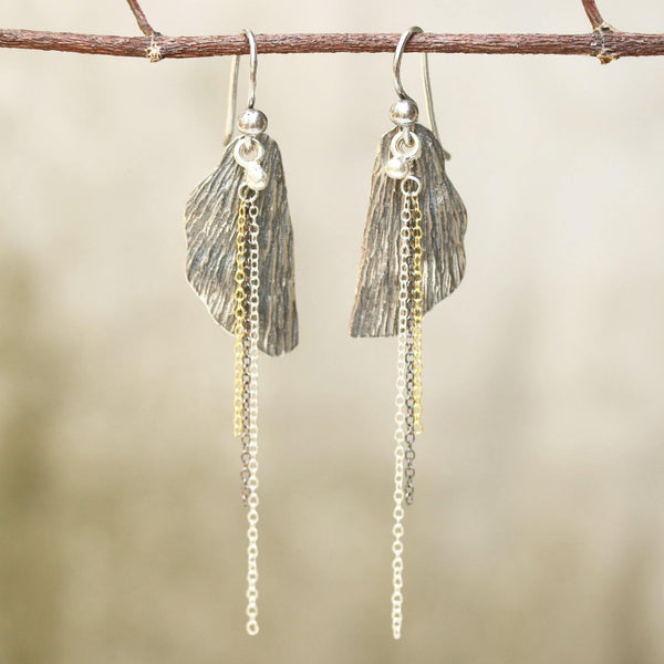 Silver leaf dangle earrings with silver chain set and oxidized silver hooks on the top - Metal Studio Jewelry