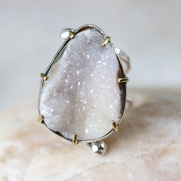 Teardrop natural gray druzy ring in silver bezel and brass prongs setting with double wrap sterling silver hammered texture band - Metal Studio Jewelry
