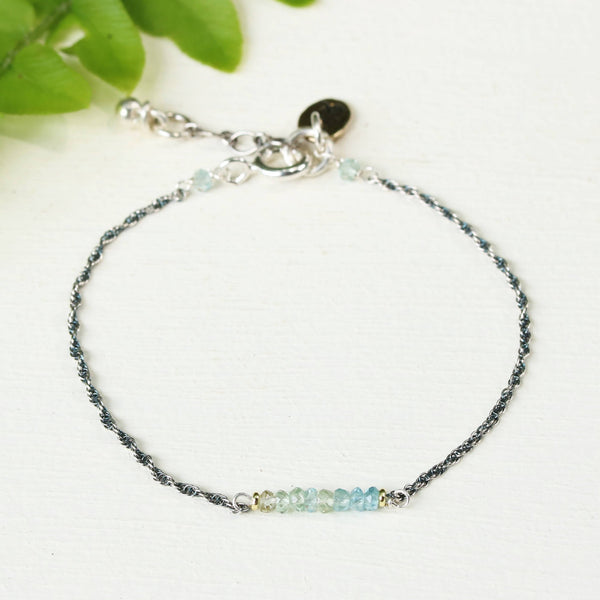 AAA aquamarine bracelet with oxidized sterling silver chain - Metal Studio Jewelry