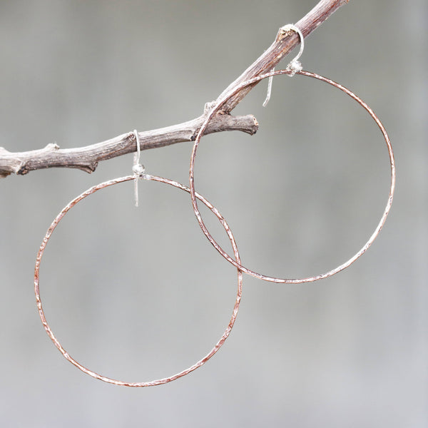 Hoop earrings copper hoop with oxidized hard hammer textured on sterling silver hooks style/TP
