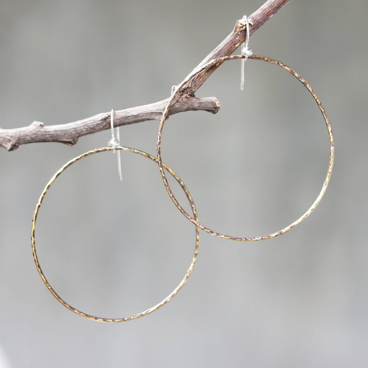 Hoop earrings,brass hoop with oxidized hard hammer textured on sterling silver hooks style/TP