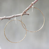 Hoop earrings brass hoop with oxidized hard hammer textured on sterling silver hooks style - Metal Studio Jewelry