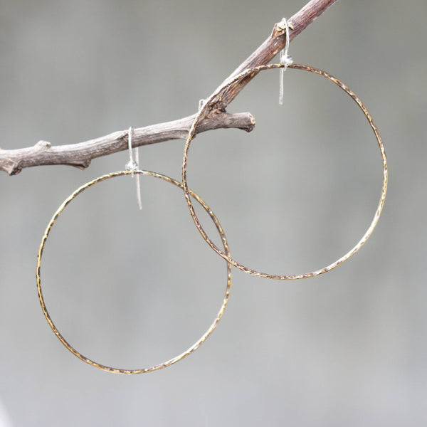 Hoop earrings brass hoop with oxidized hard hammer textured on sterling silver hooks style