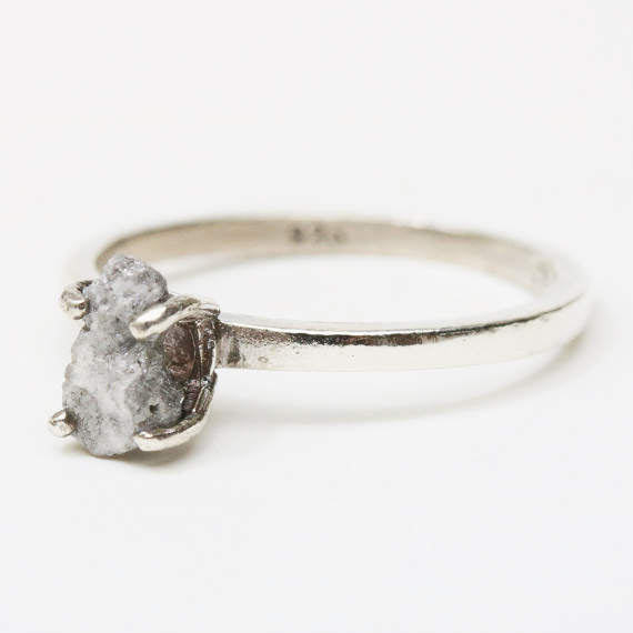 Sterling silver in high polished band ring with white grey raw  rough diamond in prongs setting
