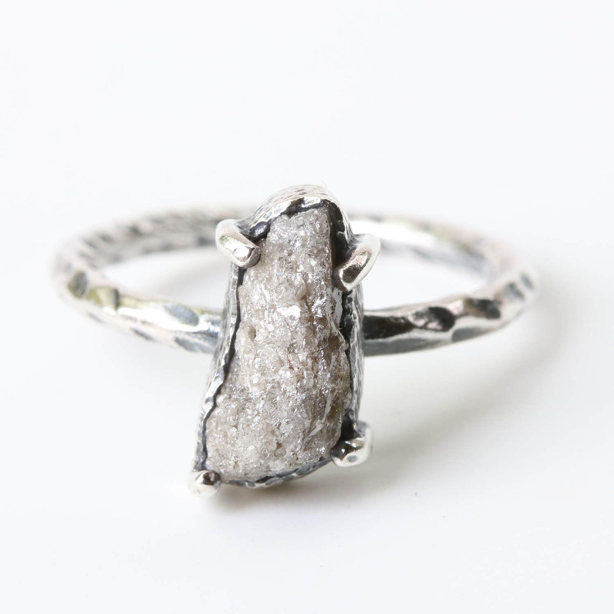 Large light color rough diamond ring in twist texture silver band