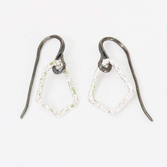 Earrings,Sterling silver freeform hoops with hammered textures and oxidized silver hooks