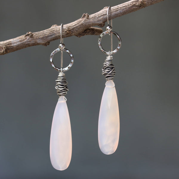 Pink chalcedony teardrop faceted earrings with silver bird's nest and circle ring on oxidized sterling silver hooks style - Metal Studio Jewelry