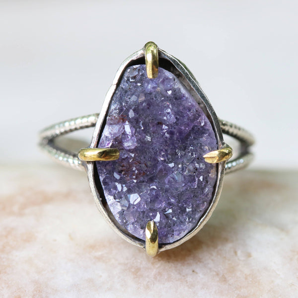 Teardrop purple Brazilian raw druzy ring in silver bezel and brass prongs setting with sterling silver double design band - Metal Studio Jewelry